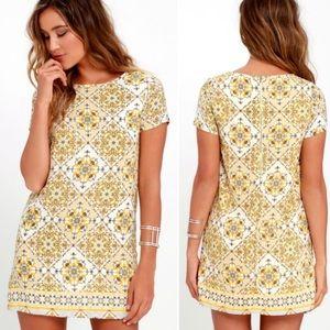 Lulus Dandy Lion Yellow Print Shift Dress, Size sm